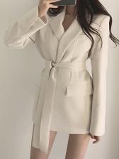 Ol Style Minimalist Tie Wrap Blazers For Women