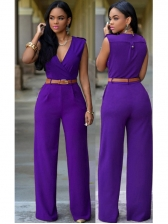 Hot Sale Surplice V Neck Wide Leg Jumpsuits