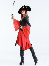Halloween Cosplay Skull Print Irregular Dress Pirate Costume