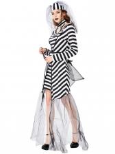 Halloween Gauze Stitching Striped Dress Prisoners Costume