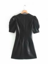 Solid Pu Puff Short Sleeve Summer Dresses