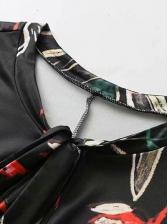 Fashion Tie Neck Long Sleeve Midi Dress