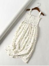 Vintage Style Elastic Waist Strap Floral Dress