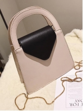 Contrast Color Semicircle Handle Chain Crossbody Bags