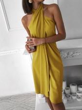 Fashion Solid Color Halter Dress