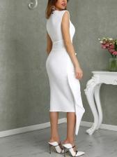 Solid Split Irregular Sleeveless Dress