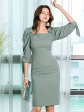 Solid Slim Fit Bodycon Puff Long Sleeve Dress