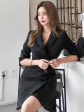 Korean Half Sleeve Fitted Solid Blazer Dress