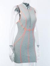 High Neck Stripes Sleeveless Bodycon Dress