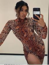 High Neck Leopard Slit Long Sleeve Dress
