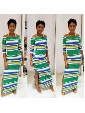 Off Shoulder Striped Contrast Color Maxi Dresses