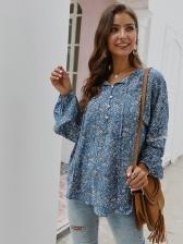 Floral Lantern Sleeve Botton Womens Blouses