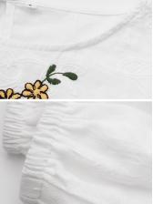 Embroidery Lantern Sleeve White Blouse