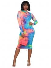 Colorful Tie Dye Long Sleeve Ladies Dresses