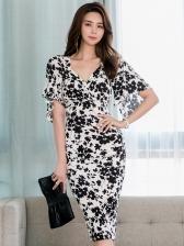 Fashion v Neck Short Sleeve Floral Dress