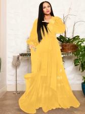 Solid Long Sleeve Chiffon Maxi Dresses
