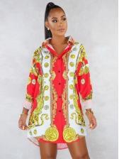 Vintage Printed Long Sleeve Shirt Dress