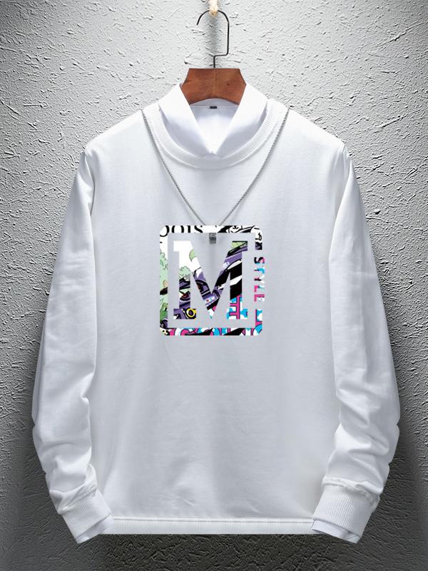 Fashion Letter M Printed Long Sleeve Sweatshirt
