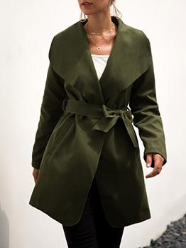 Woolen Bandage Slim Waist Long Womens Winter Coats
