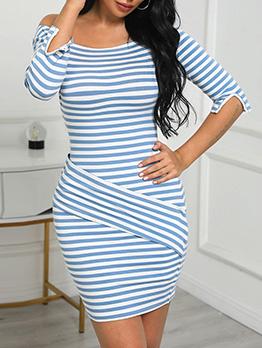 Stylish Striped Long Sleeve Bodycon Dress