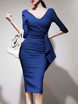 Sexy Deep V Neck Blue Long Sleeve Bodycon Dress