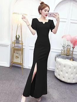 Elegant Solid Maxi Slim Slit Party Dresses