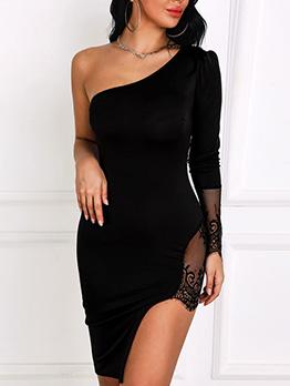 Seductive Lace Patchwork Inclined Shoulder Dresses For Women