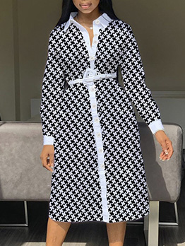 Single-Breasted Houndstooth Long Sleeve Midi Dress