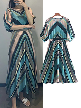 Crew Neck Colorful Striped Fitted Maxi Dress