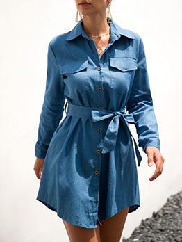 Casual Tie-Wrap Long Sleeve Shirt Denim Dress