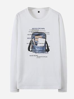 Crew Neck Long Sleeve Men t Shirt Printing