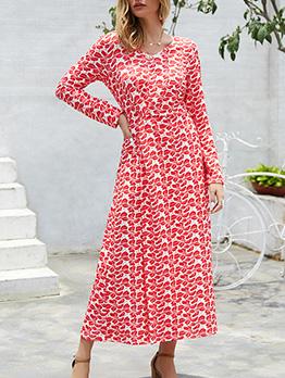 Vintage Style Printed Split Hem Maxi Dress