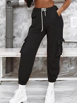 Solid Multi-Pocket Jogger Pants For Women