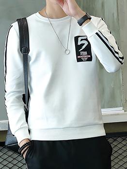 Sporty Number Printed Patchwork Sweatshirt