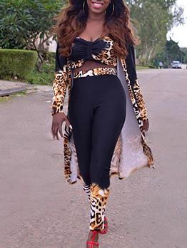 Fashion Leopard Crop Top And Pants 3 Piece Sets