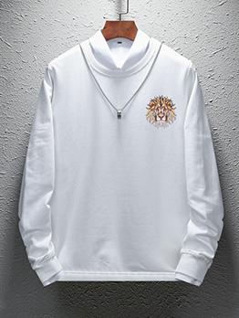 Modern Lion Printed Long Sleeve Velvet Sweatshirt