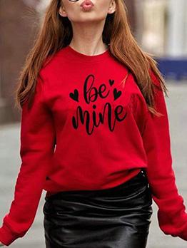 Letter Long Sleeve Sweatshirts For Women