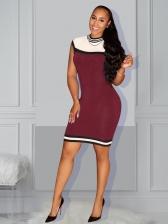 Fashion Patchwork Stand Neck Bodycon Dress