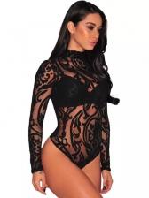Lace Sexy Black Transparent Bodysuit Sleepsuit