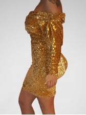 Long Sleeve Off Shoulder Sequined Bodycon Mini Dress