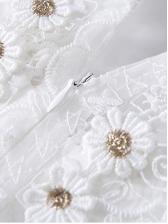 Elegant Short Sleeve White Lace Dress