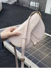 Semicircular Solid Color Alligator Print Crossbody Bags