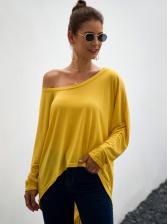 Irregular One Shoulder Loose Solid Long T Shirt