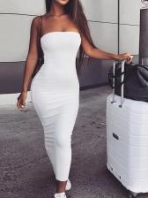Sexy Solid Midi Strapless Bodycon Dress