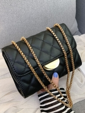 Rectangle Diamond Pattern Shoulder Bag With Chain