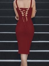 Seductive Back Bandage Bodycon Dress