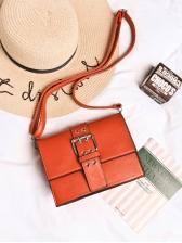 Solid Square Design Metal Buckle Crossbody Bags