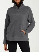 Stand Collar Zipper Up Solid Lambswool Sweatshirt