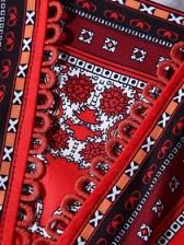 V Neck Vintage Printed Long Sleeve Dress