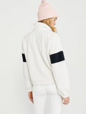 Stitching Color Stand Collar Lambswool Sweatshirt